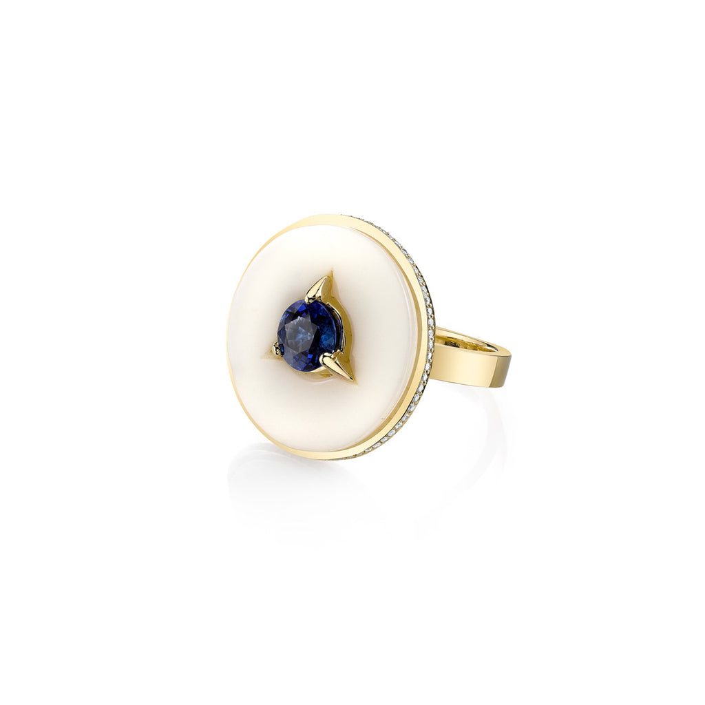 Cycles Diamond Alternative Cocktail Ring with Blue Sapphire Center in 18k Gold Jewelry - Irthly - 2