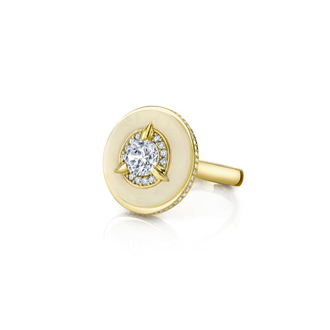 Cycles Diamond Alternative Engagement Ring in 18k Gold Jewelry - Irthly - 1