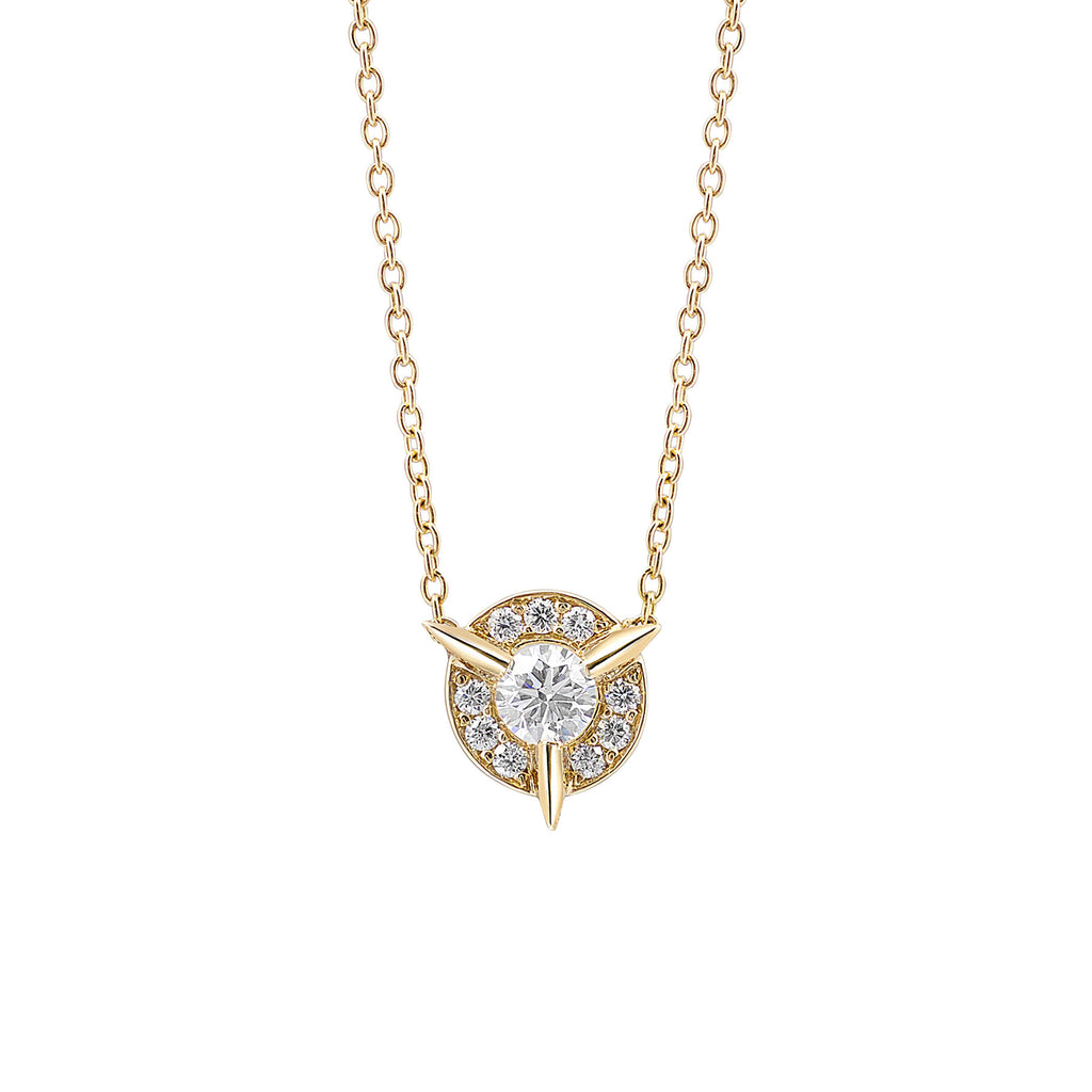 Dainty Diamond Necklace with Diamond Center In Yellow Gold By Irthly
