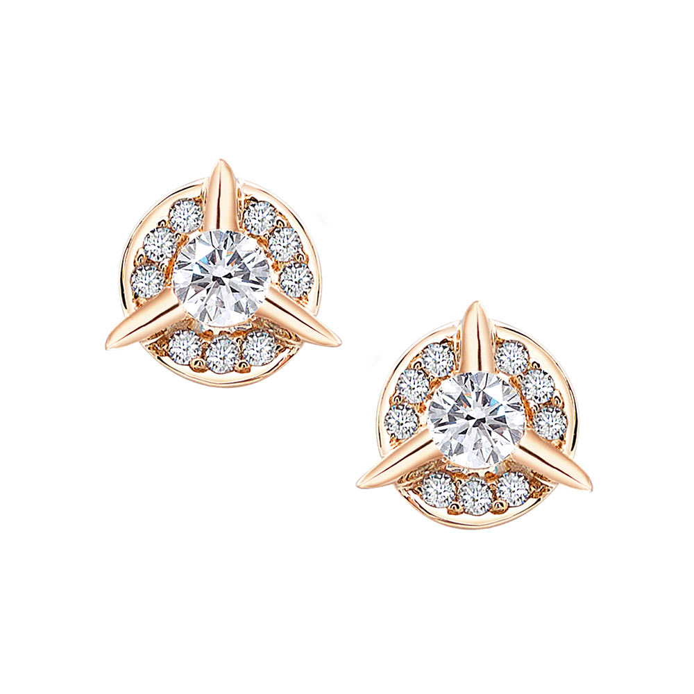 Dainty Circle Diamond Stud Earrings With Center Diamond In Rose Gold By Irthly
