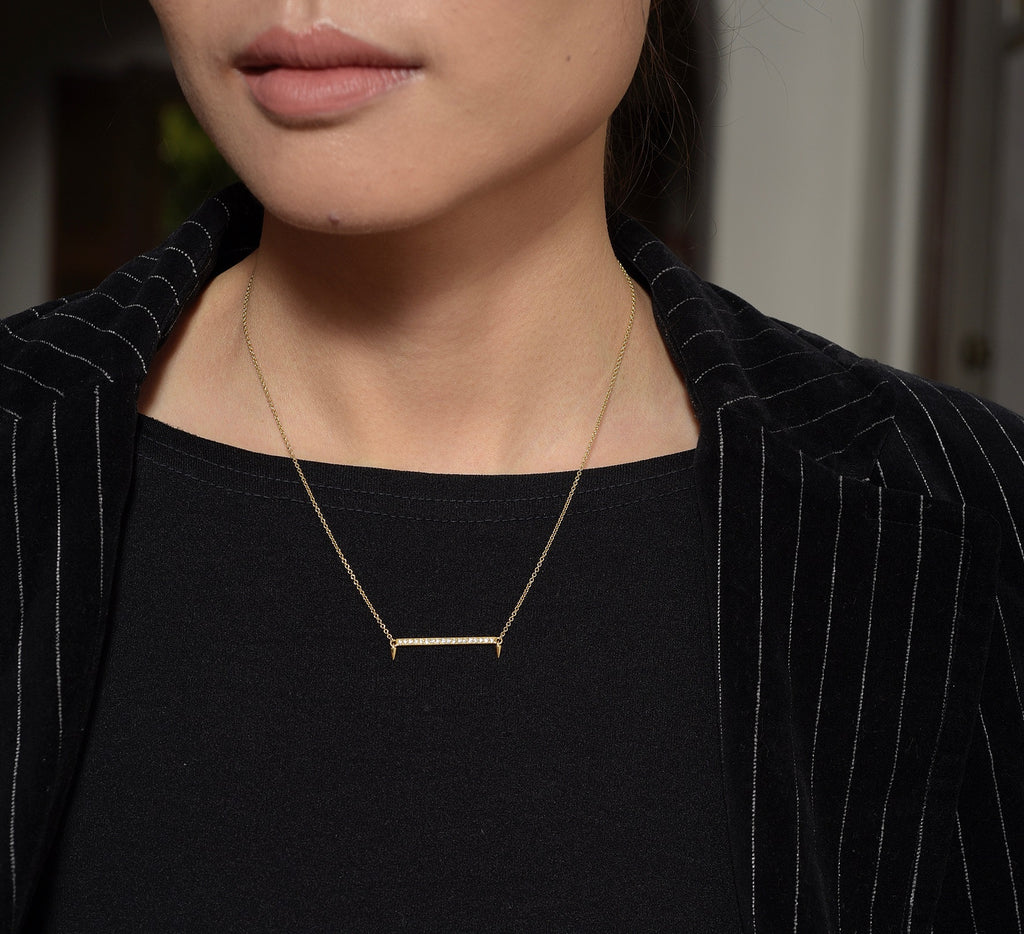 Small Horizontal Bar Diamond Necklace | Return Sans | Irthly