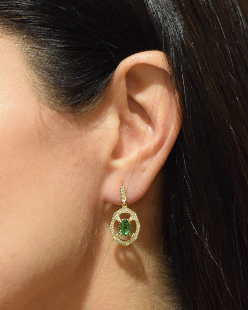 Tsavorite Garnet and Diamond Drop Earrings In Yellow Gold Displayed on Ear By Irthly