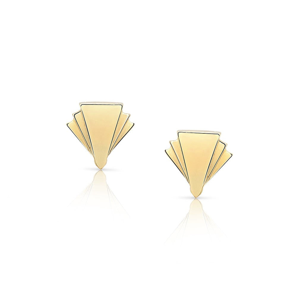 Deco Sans Diamond Earrings Studs in 18k Gold Jewelry - Irthly - 2