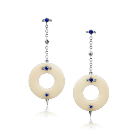Small Cycles Diamond and Blue Sapphire Earrings 18k Gold Jewelry - Irthly
