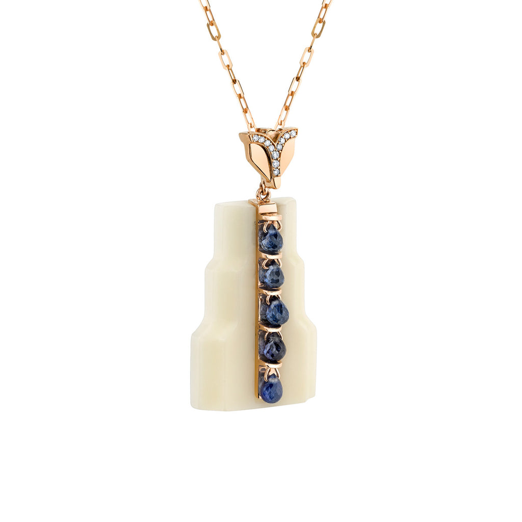 Art D'Eco Fontaine Diamond and Sapphire Pendant in 18k Gold Jewelry - Irthly - 1