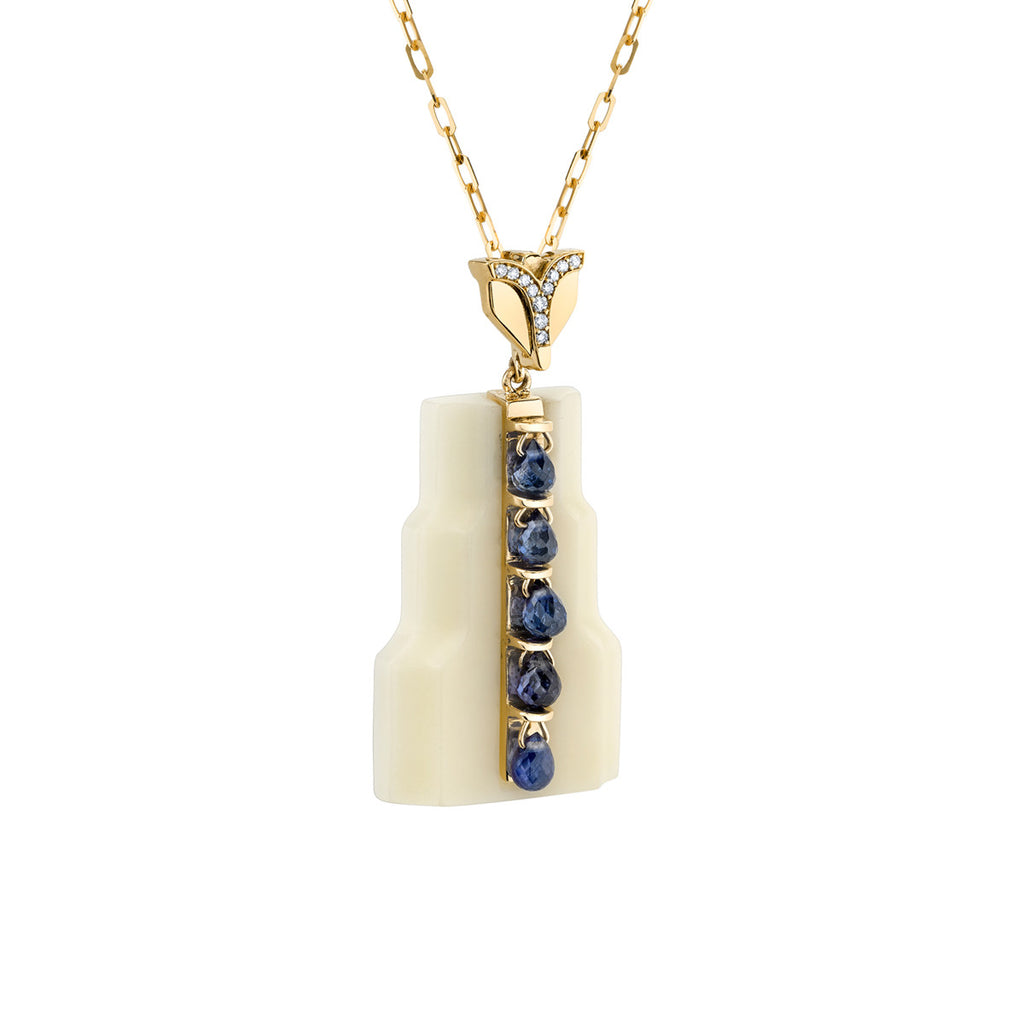 Art D'Eco Fontaine Diamond and Sapphire Pendant in 18k Gold Jewelry - Irthly - 2