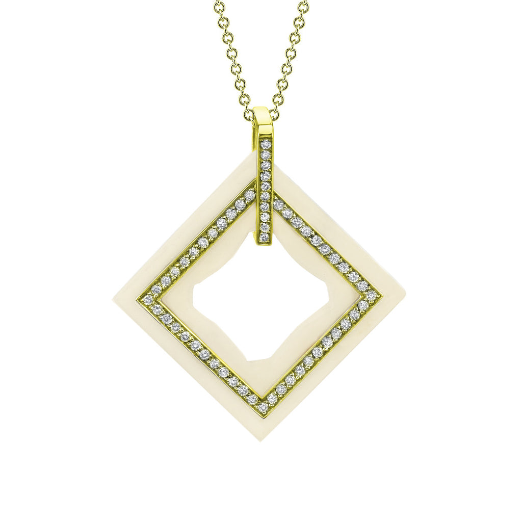Frame Diamond Pendant in 18k Gold Jewelry - Irthly - 3