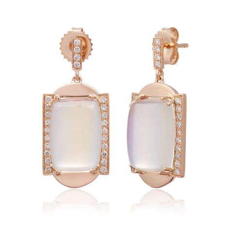 Frame Sans Diamond and Blue Moonstone Earrings in 18k Gold Jewelry - Irthly - 1