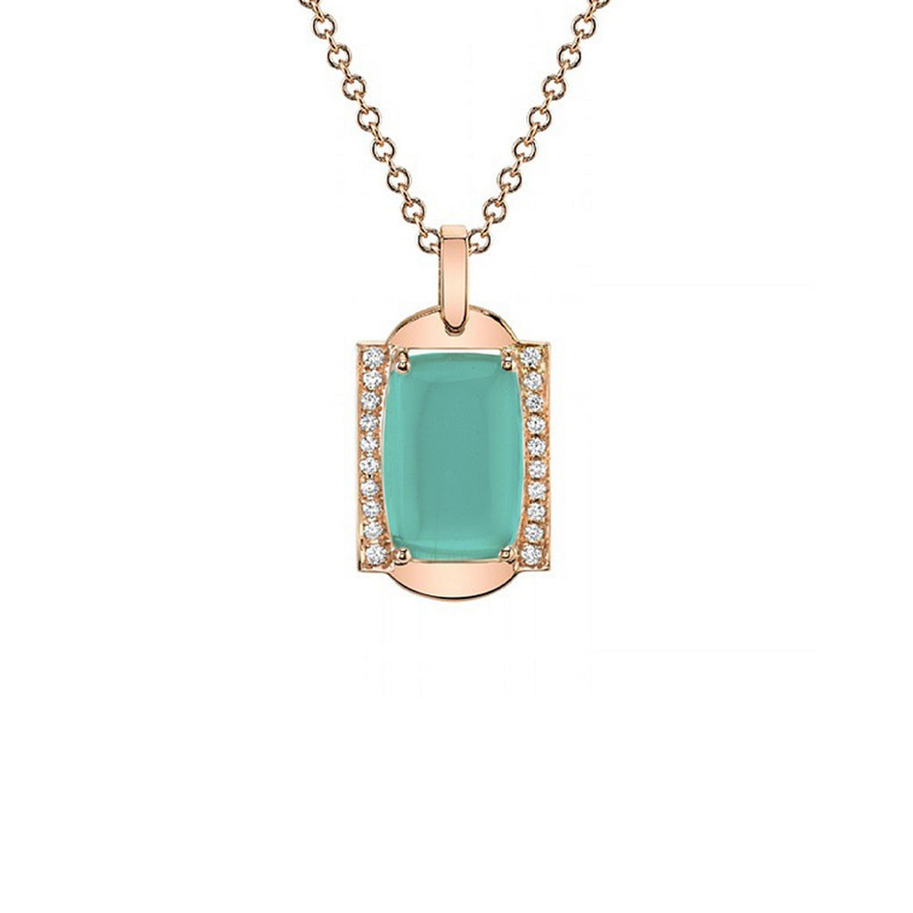 Frame Sans Diamond and Green Opal Pendant in 18k Gold Jewelry - Irthly