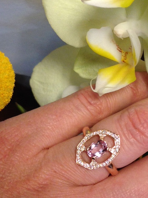 Pink Morganite Diamond Ring in Rose Gold Displayed on Finger By Irthly