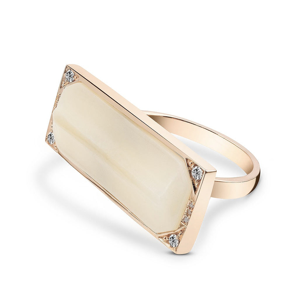 Terminals Diamond Ring In 18k Gold Jewelry - Irthly