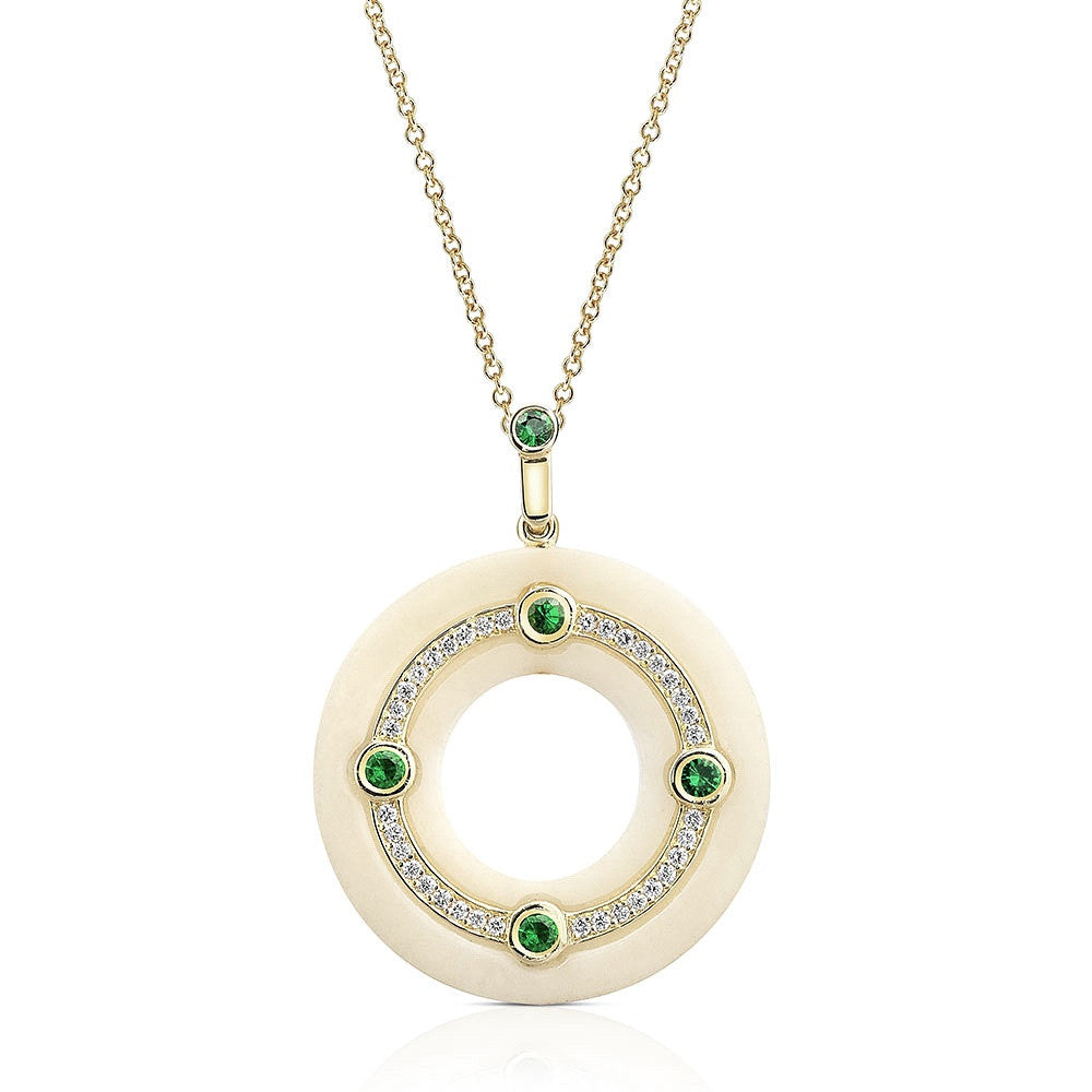 Medium Cardinal Diamond and Tsavorite Pendant in 18k Gold Jewelry - Irthly