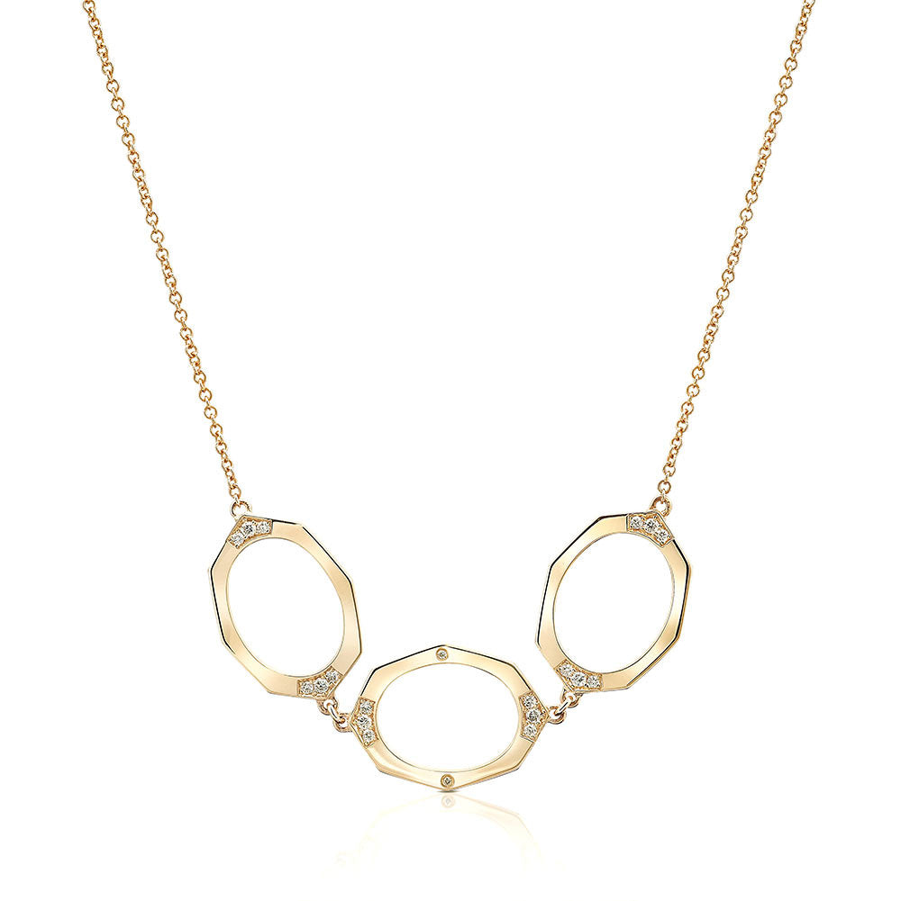 Three Oval Link Horizontal Diamond Necklace | Affinity Sans | Irthly