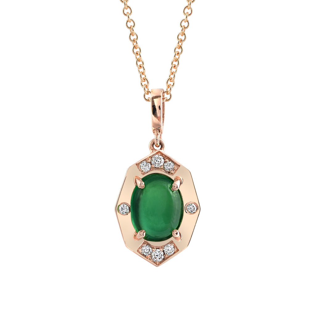 Dainty Oval Rose Gold and diamond pendant with Tsavorite Center | Affinty Sans | Irthly