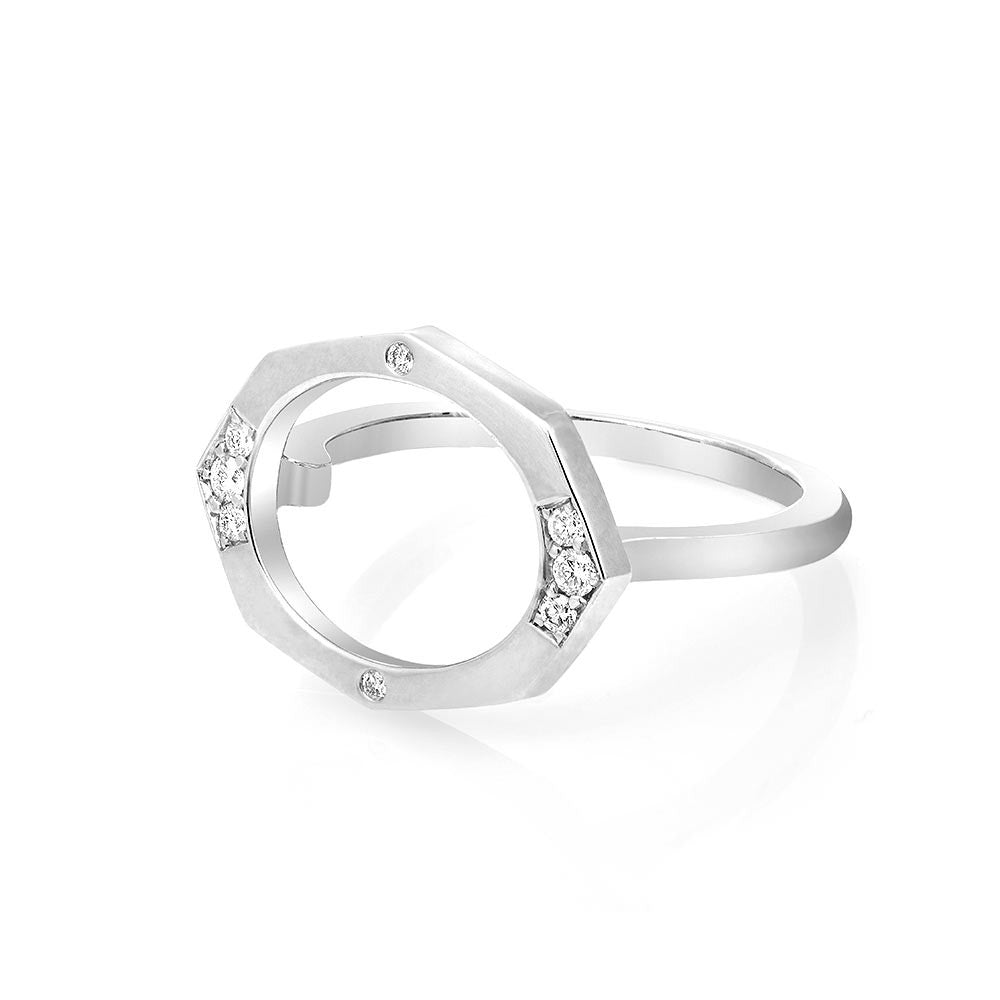 Small Oval Shaped Horizontal Diamond Ring in White Gold By Irthly