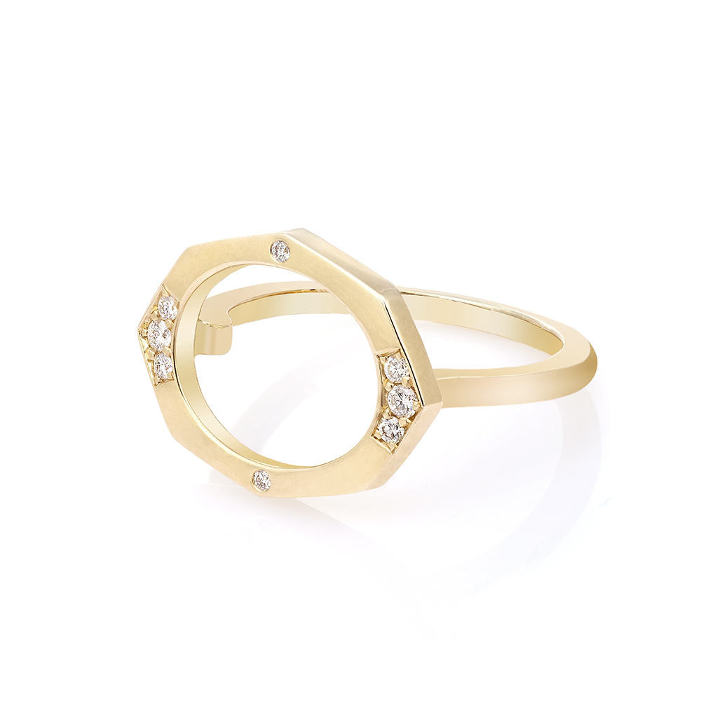 Small Oval Shaped Horizontal Diamond Ring in Yellow Gold By Irthly
