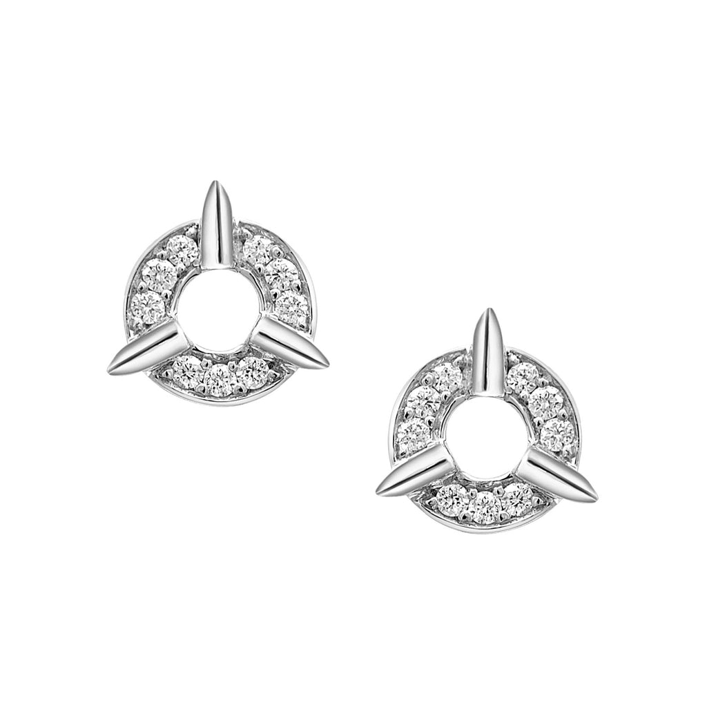 Dainty Circle Diamond Stud Earrings With Spikes In White Gold By Irthly