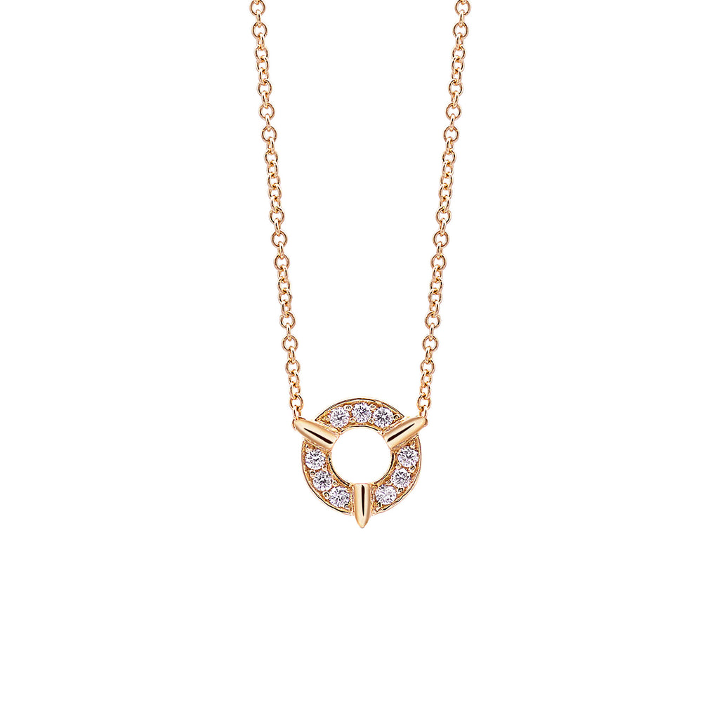 Dainty Circle Diamond Necklace In Yellow Gold By Irthly