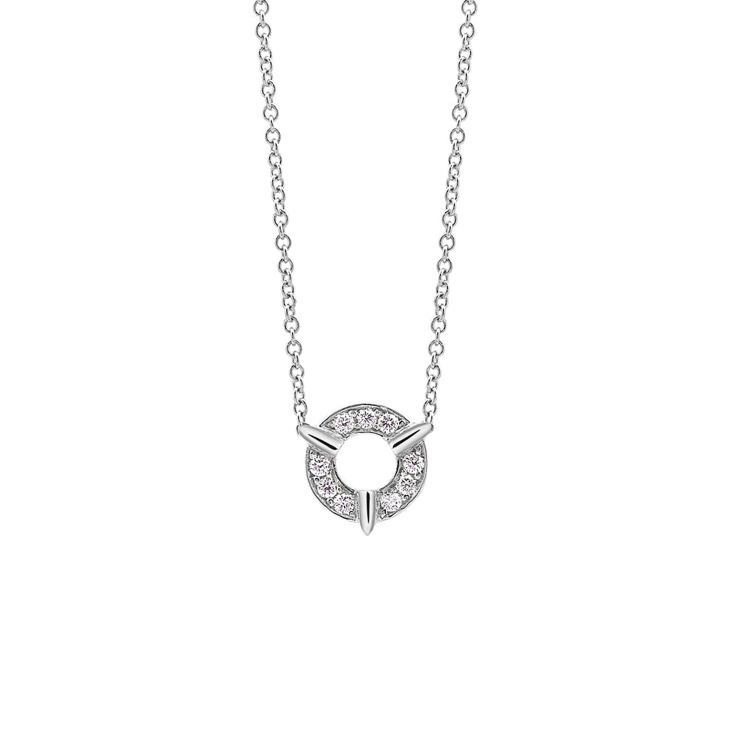 Dainty Circle Diamond Necklace In White Gold By Irthly