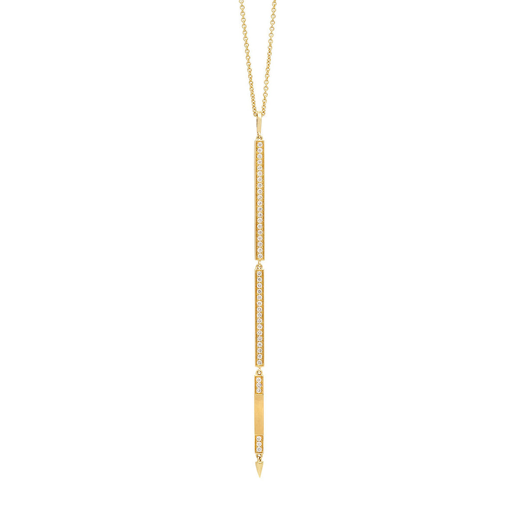 Long Opera Diamond Pendant Necklace with Three Tier Bars in Yellow Gold By Irthly