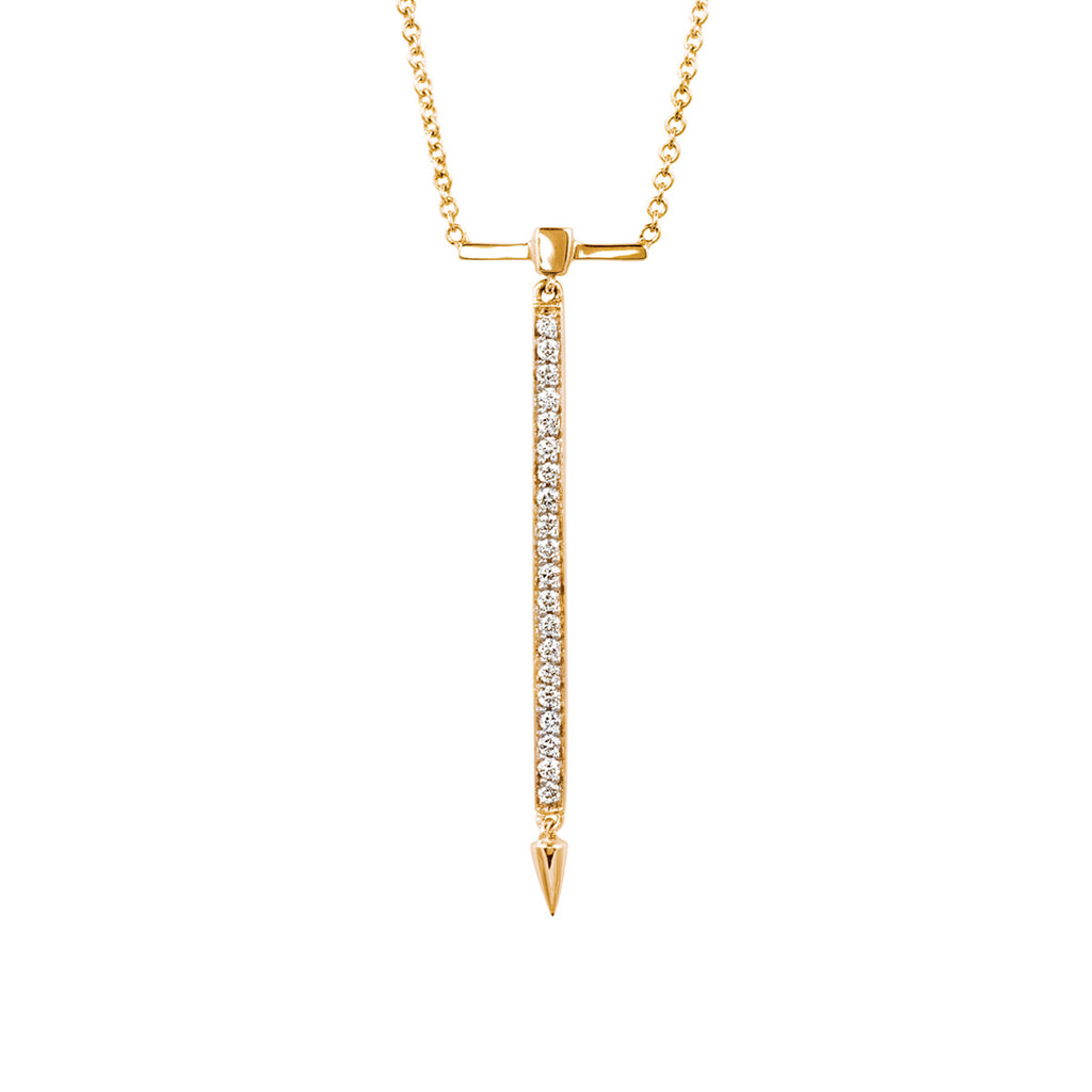 Diamond Bar Necklace in Rose Gold By Irthly
