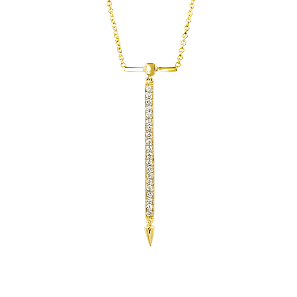 Diamond Bar Necklace in Yellow Gold By Irthly