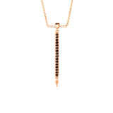 Black Diamond Necklace With Spike in Rose Gold By Irthly