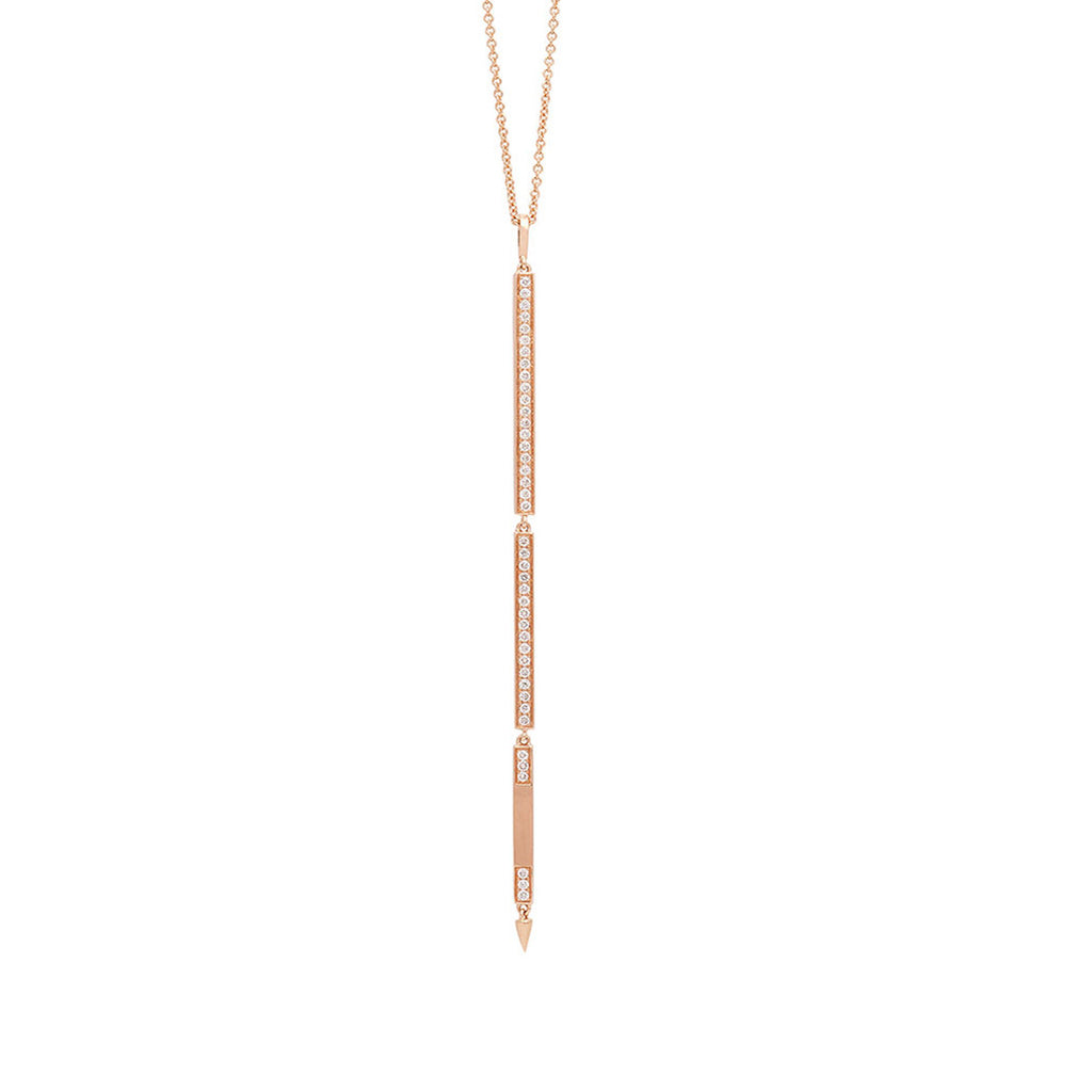 Long Opera Diamond Pendant Necklace with Three Tier Bars in Rose Gold By Irthly