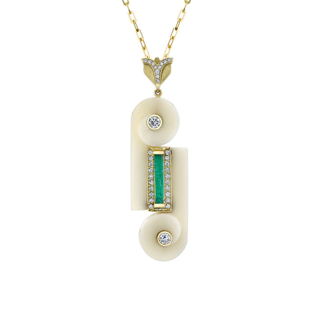 Art D'Eco Motif Diamond and Emerald Pendant in 18k Gold Jewelry - Irthly - 1