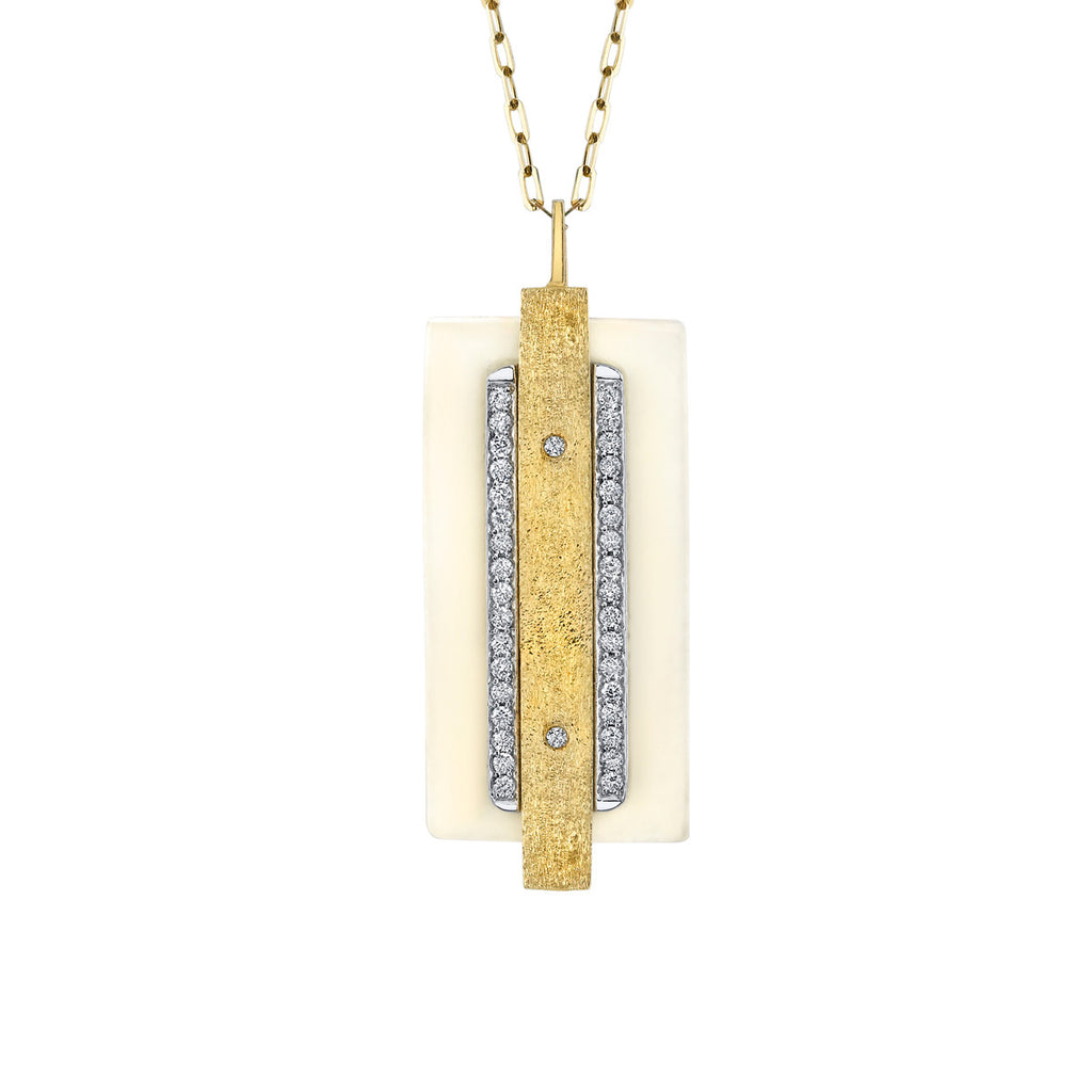 Parallel Diamond Pendant in 18k Gold Jewelry - Irthly - 2