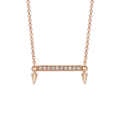 Small Horizontal Bar Diamond Necklace in Rose Gold By Irthly