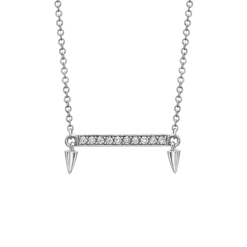 Small Horizontal Bar Diamond Necklace in White Gold By Irthly
