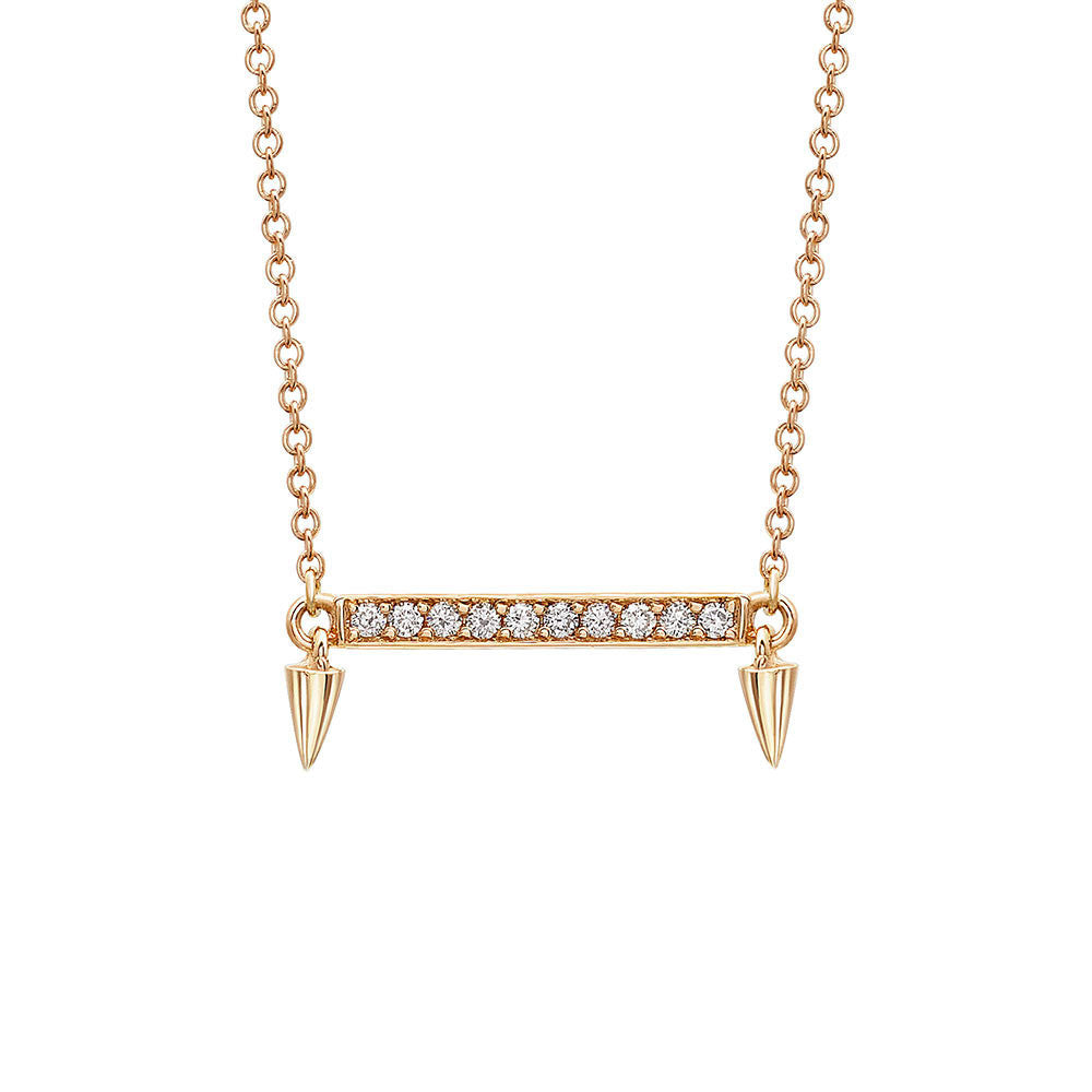 Small Horizontal Bar Diamond Necklace in Yellow Gold By Irthly