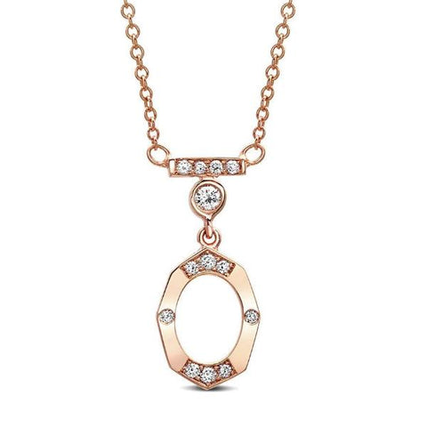 Dainty Diamond and Gold Necklace With Bar and Bezel in Rose Gold By Irthly