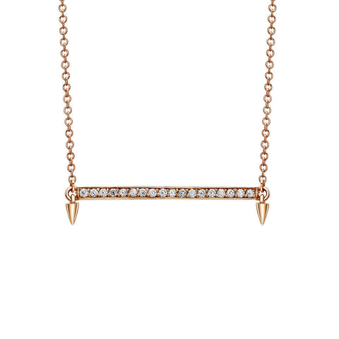 Horizontal Bar Diamond Necklace in Rose Gold By Irthly