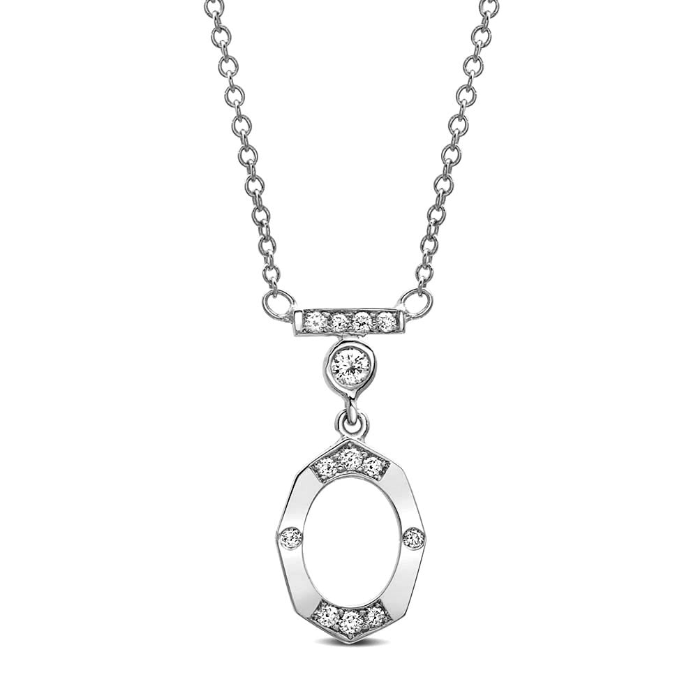 Dainty Diamond and Gold Necklace With Bar and Bezel in White Gold By Irthly