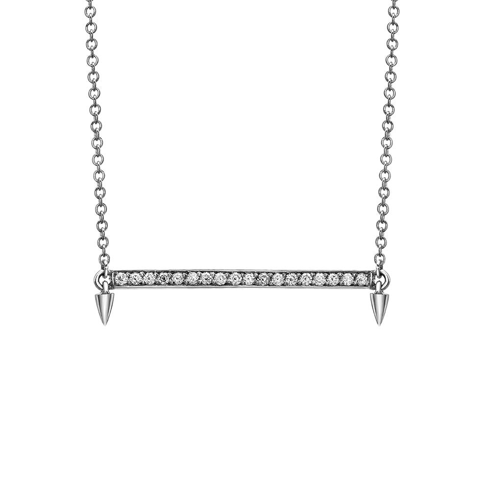 Horizontal Bar Diamond Necklace in White Gold By Irthly