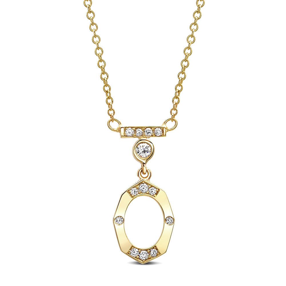 Dainty Diamond and Gold Necklace With Bar and Bezel in Yellow Gold By Irthly