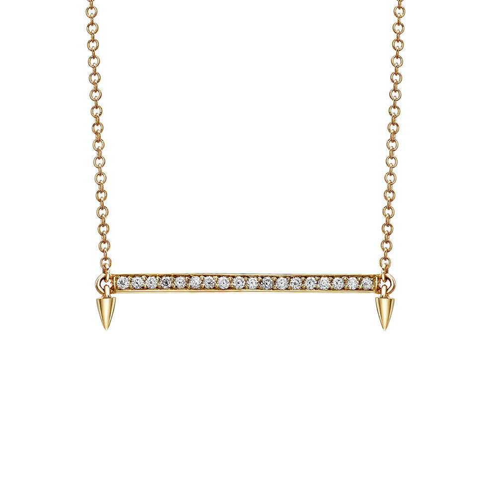 Horizontal Bar Diamond Necklace in Yellow Gold By Irthly