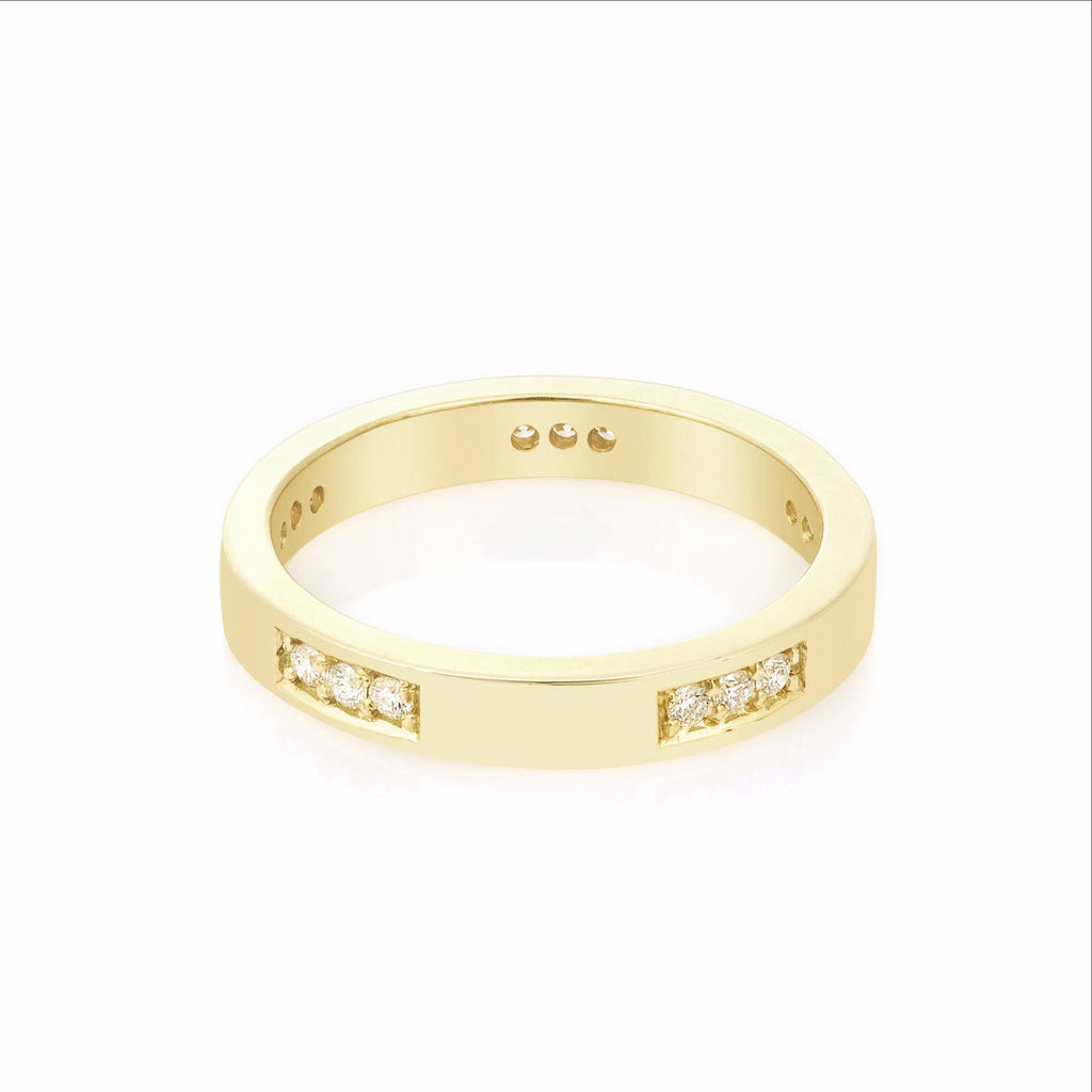 Diamond Engagement Band in Yellow Gold By Irthly