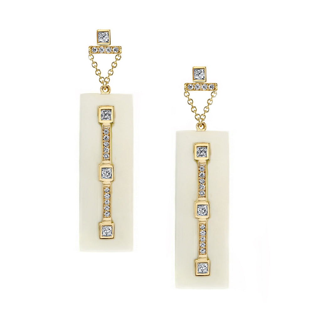 Return Princess Cut Diamond Earrings in 18k Gold Jewelry - Irthly - 2
