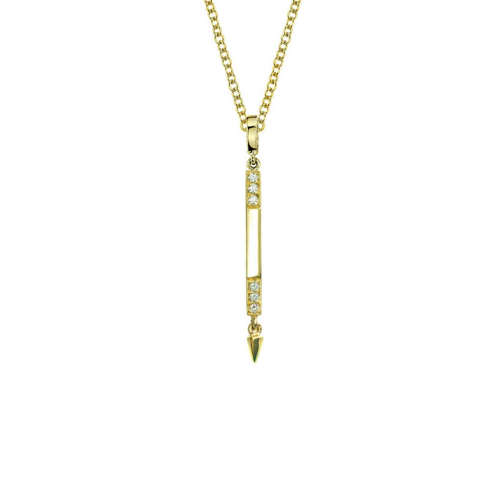 Small Diamond Bar Necklace Pendant With Spike in Rose Gold By Irthly