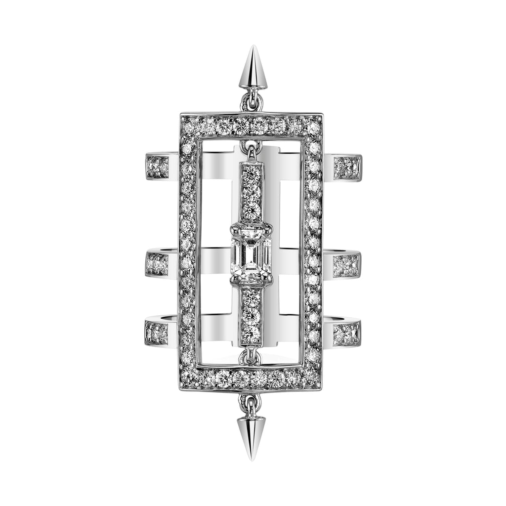 Triple Bar Diamond Ring With Spikes in White Gold By Irthly Top View