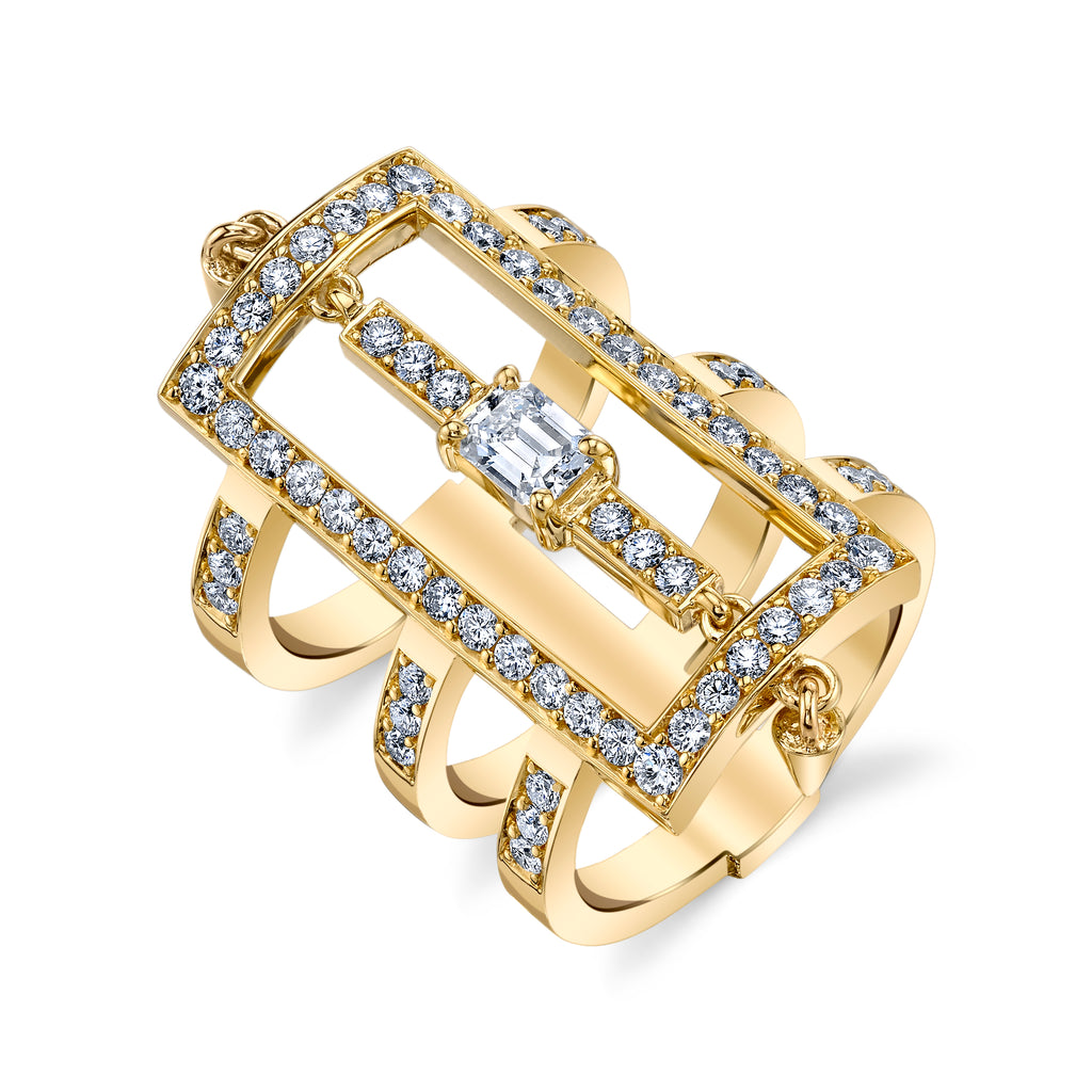 Triple Bar Diamond Ring With Spikes in Yellow Gold By Irthly