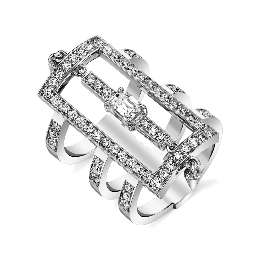 Triple Bar Diamond Ring With Spikes in White Gold By Irthly