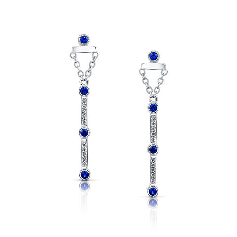 Diamond and Sapphire Dangle Earrings in White Gold By Irthly