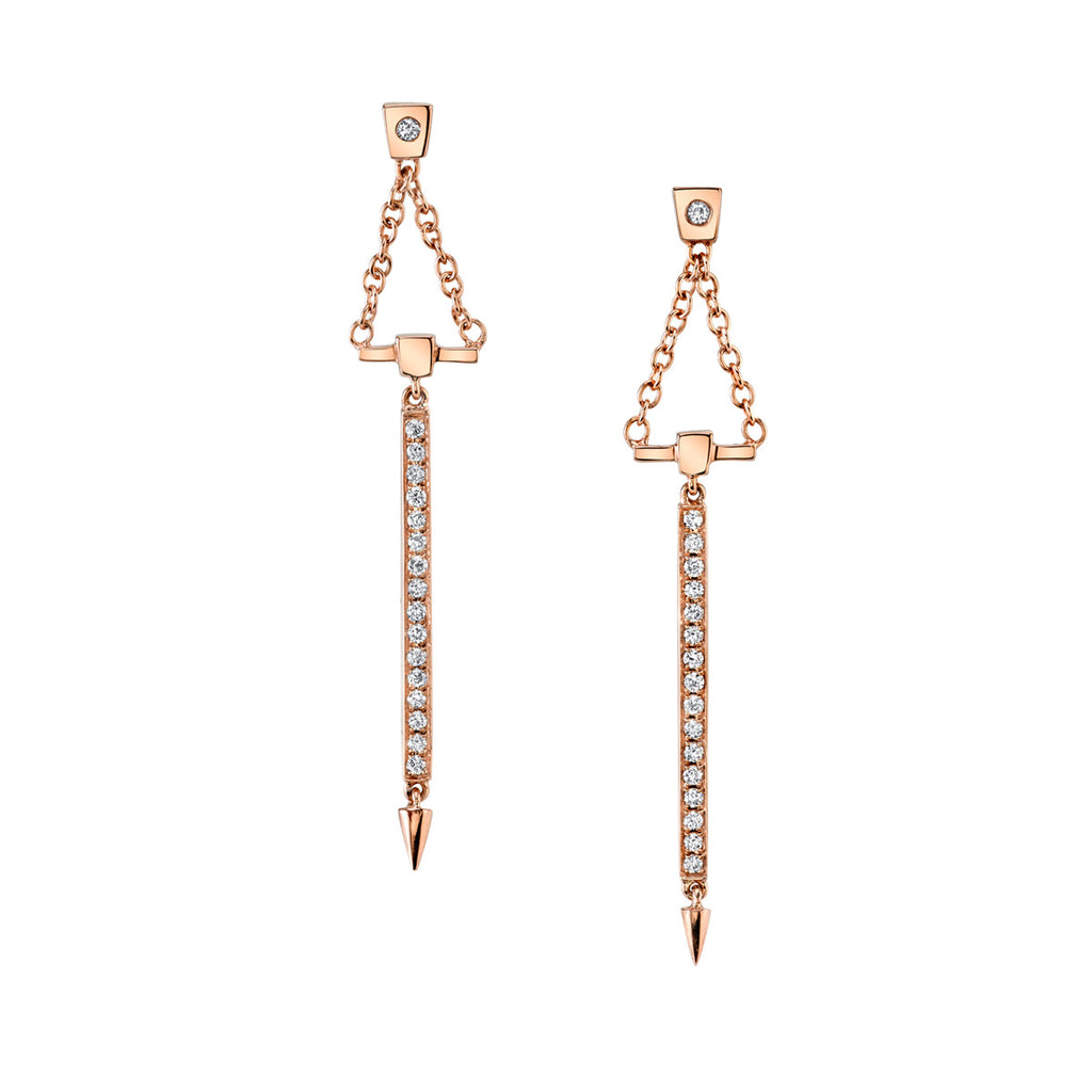 Diamond Bar Drop Earrings In Rose Gold By Irthly