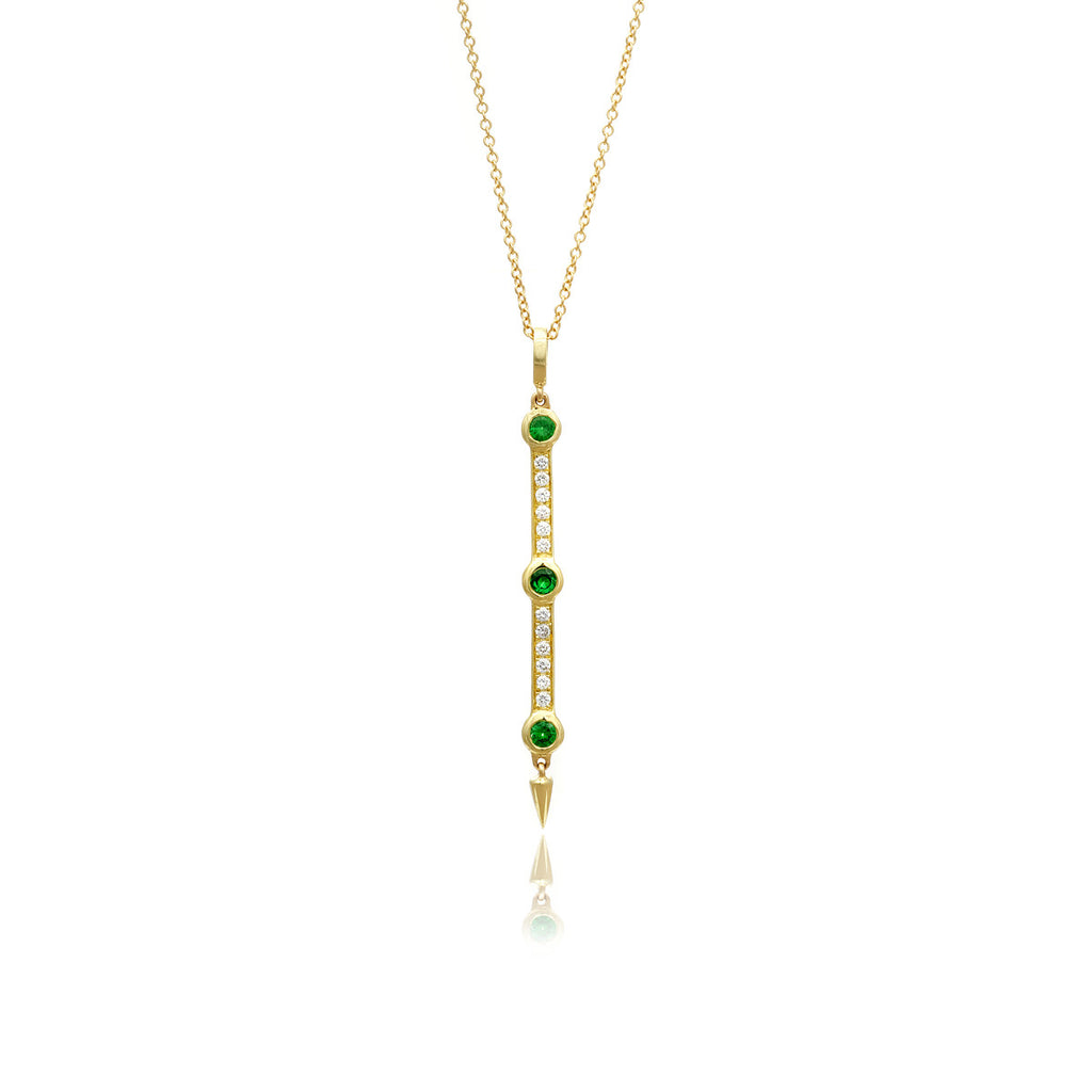 Diamond and Tsavorite Garnet Bar Pendant Necklace With Spike in Yellow Gold By Irthly