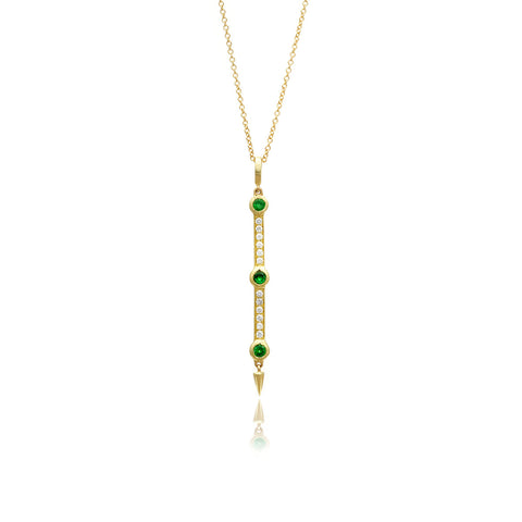 Return Sans Diamond and Tsavorite Pendant in 18k Gold Jewelry - Irthly
