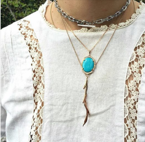 Turquoise and Diamond Pendant in Rose Gold By Irthly Displayed on Model